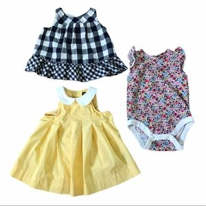Baby Gap girls bundle 2 dresses 1 floral onesie